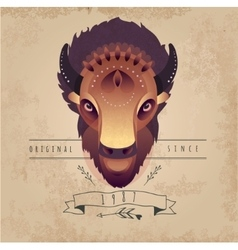 Trendy retro vintage buffalo vector