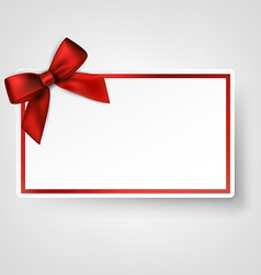 White paper card with gift red satin bow vector image vector image