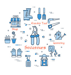 06 blue gardening - secateurs vector image