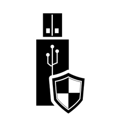 usb drive and shield icon vector image
