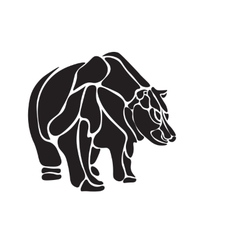 Black and white engrave isolated bear vector