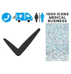 Valid icon with 1000 medical business symbols vector