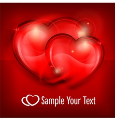 two heart red vector image