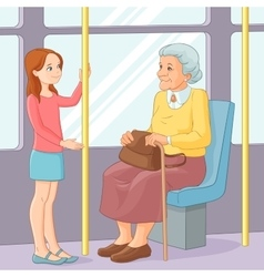 Young girl offering a seat to an old lady in vector