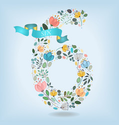 Floral number six with blue ribbon vector