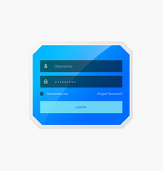 Blue login form template design in style vector