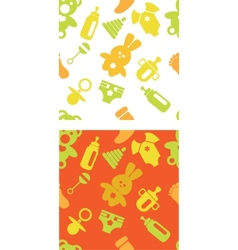 set of babies accessories patterns in green and vector image