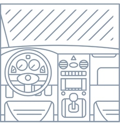 Flat simple line of car interior view vector