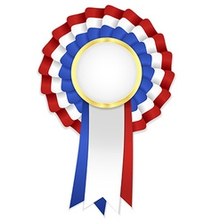 Tricolor rosette with blue white and red ribbon vector