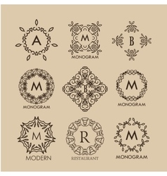 Set of simple and elegant monogram designs vector