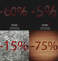5 15 75 icon set of percent discount on abstract vector