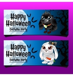 Two horizontal cards with rabbit and crow vector