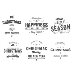 Merry christmas lettering collection wishes vector