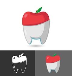 Dentist dental apple symbol icon logo vector