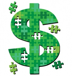 Dollar jigsaw puzzle pieces vector