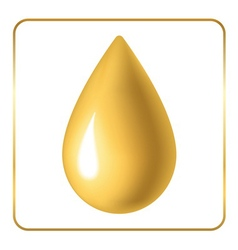 Oil drop icon golden vector