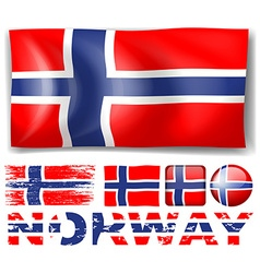 Norway flag in different designs vector