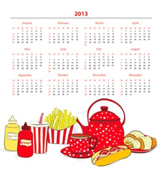 Calendar for 2013 with a lot of food vector