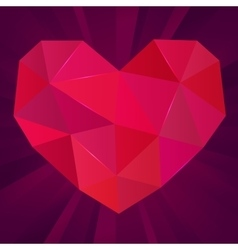 Polygonal heart on purple background ruby vector
