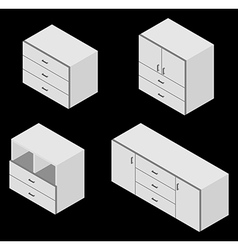 Bureau white isometric vector
