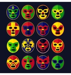 Mexican wrestling masks set vector