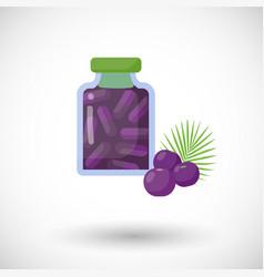Acai berries capsules flat icon vector