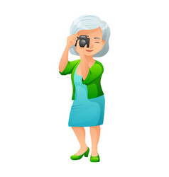 an old active lady with vector image vector image