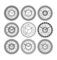 Antique clocks isolate on white vintage watch on vector