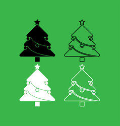christmas tree icon black and white color set vector image vector image