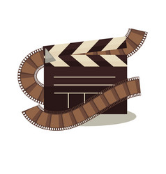 cinema clapperboard with celluloid elements around vector image vector image