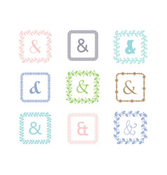 colorful ampersand square leaves border pattern vector image