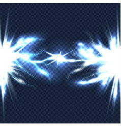electrical discharge with lightning beam isolated vector image vector image