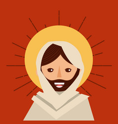 face jesus christ religious catholic vector image