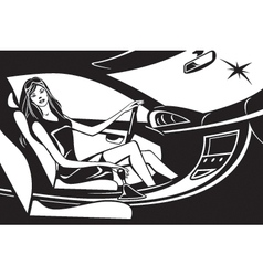 Fashion model driving car vector image vector image