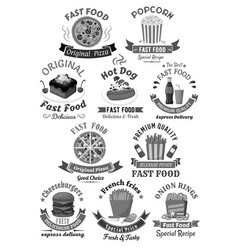 fast food restaurant menu icons set vector image