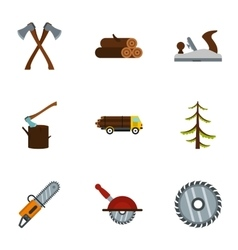 Firewood icons set flat style vector