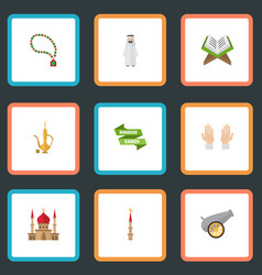 flat icons palm arabian mosque and other vector image vector image