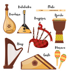 flat style set of various traditional folk musical vector image