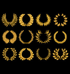 Floral gold wreathes collection vector