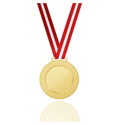 Gold medal with red ribbon icon vector
