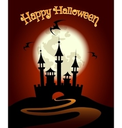 Halloween background with castle and bat vector