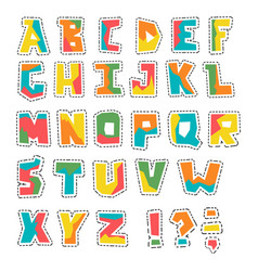 Hand lubberly cut colorful alphabet with vector