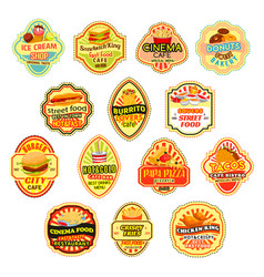 icons for fast food restaurant menu vector image vector image
