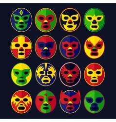 Mexican wrestling masks set vector