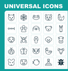Nature icons set collection of rat kine moose vector