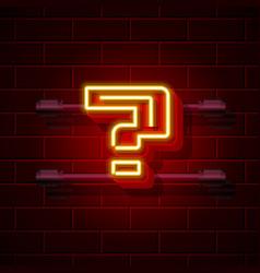 Neon question symbol city signboard vector