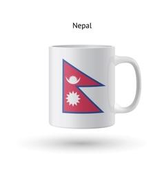 Nepal flag souvenir mug on white background vector image vector image