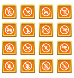 no insect sign icons set orange vector image