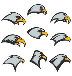 Set of eagle heads icons isolated on white vector