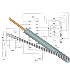 Soldering iron screwdriver and electronic circuit vector image